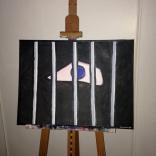 """Série : // Line work: """"Yeux"""" - Huile sur toile // Oil on canvas - 1994"""
