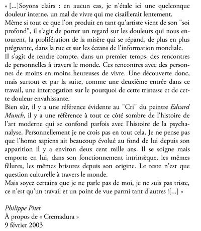 Texte d'intention à propos de  // Declaration of Intent for - « Cremadura » 2003