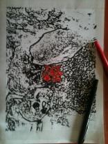 """Détail essai de dessin pour papier peint // Drawing detail for wallpaper - Installation """"Puisqu'elle est partie, elle est partout"""" 2014"""