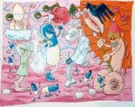 """Peinture, détail - Painting, detail - """"Soirée Act Up"""" 1990"""