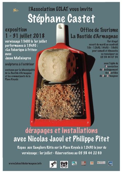 """Affiche de l'exposition """"Dérapages et Installations"""" avec Stéphane Castet, Nicolas Jaoul et Philippe Pitet à Labastide d'Armagnac"""