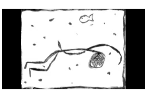 """Capture d'écran de la vidéo de Philippe Pitet """"Gegen den Strom"""" - 1999"""