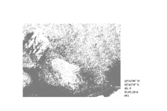 "Dessin ""Aiga - Variation 43°24'00N - 3°40'59E - Alt. 0m"" de Philippe Pitet - Série Aiga 2014"