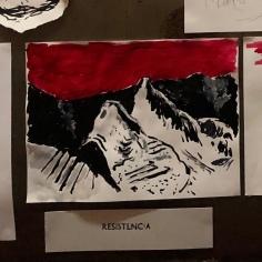 Autre dessin exécuté lors de la performance dessinée dans le cadectures du «Chant général» de Pablo Neruda à la Cave Po de Toulouse le 17.19.2020