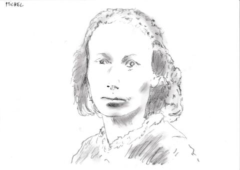 Dessin au crayon de Louise Michel de Philippe Pitet - Plasticien