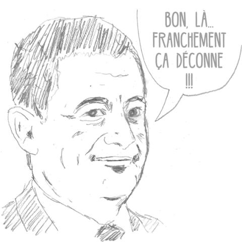 """Dessin de Philippe Pitet représentant le Minsitre de l'Intérieur Gérard Darmanin disant """"Bon, là... Franchement ça déconne"""". Cette image, dessin au crayon, a été créée pour le groupe Imagerie de Combat."""