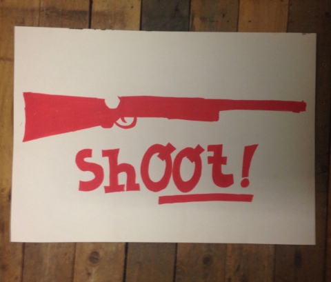 """Photo du dessin """"Shoot"""" de Philippe Pitet pour Imagerie de Combat - 2018"""