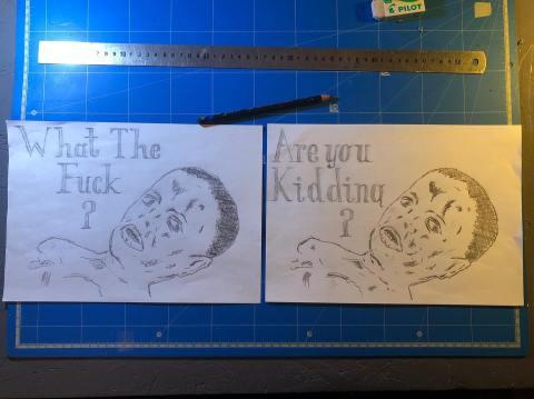 """Photos du dessin dyptique de Philippe Pitet : """"What The Fuck - Are You Kidding ?"""" - octobre 2019"""