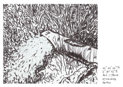 Dessin de Philippe Pitet extrait de l'édition Archiane de la Cartographie Sensible de l'Eau - 2019