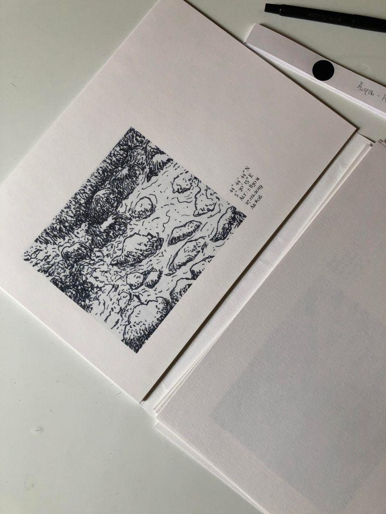 Carnet d'Archiane extrait - Aiga la cartographie sensible de l'eau - Photo de dessin de Philippe Pitet