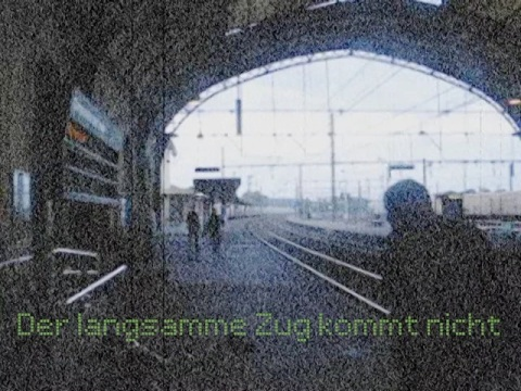 """Image extraite de la vidéo de Philippe Pitet intitulée Der langsamme Zug kommt nicht"""" - 2007"""
